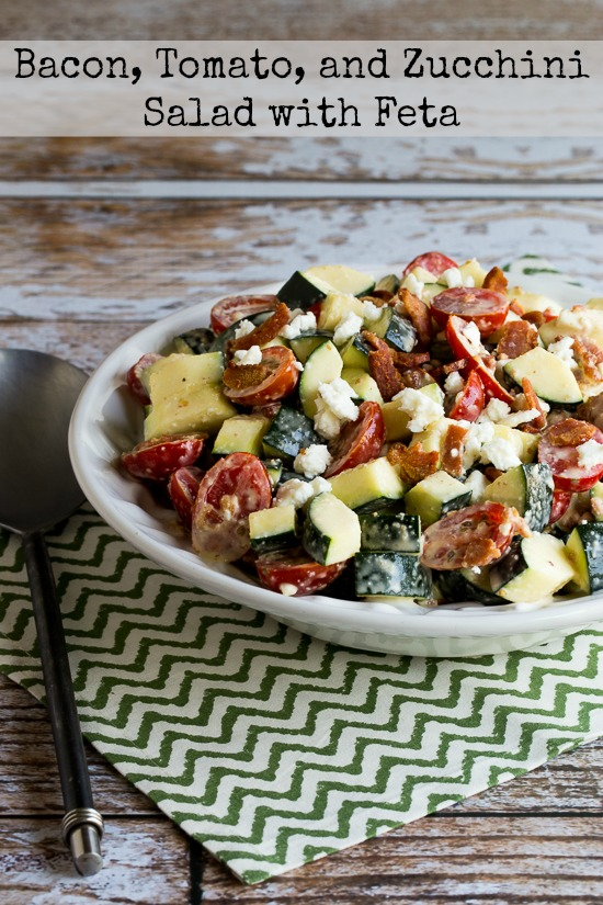 Bacon, Tomato, and Zucchini Salad with Feta  found on KalynsKitchen.com