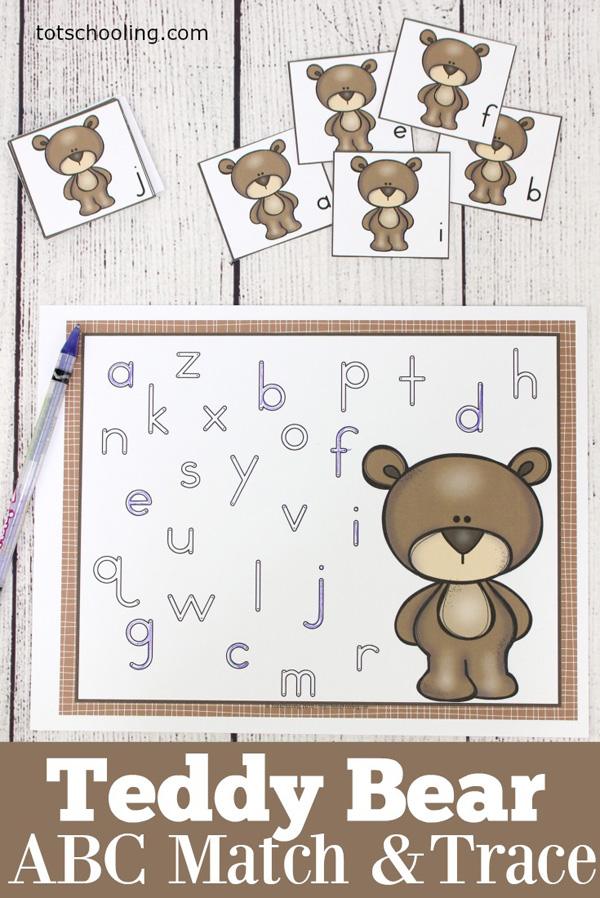 FREE printable Teddy Bear themed letter match and trace activity for pre-k and kindergarten kids. Find the uppercase or lowercase letters and then also trace them on the mat. Great for letter recognition and fine motor skills.
