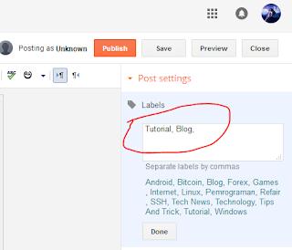 Label On Post Blogger