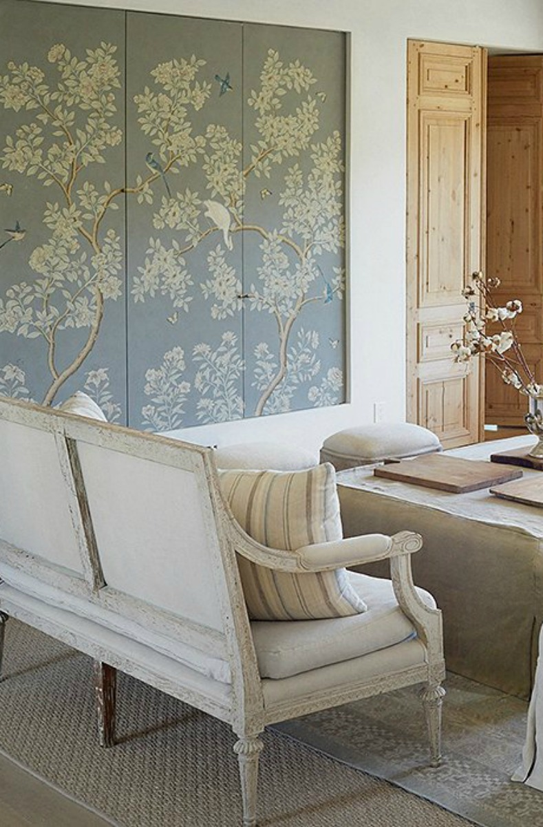 Gracie Studio blue grey panels with birds and trees in #PatinaFarm #modernfarmhouse living room by #BrookeGiannetti