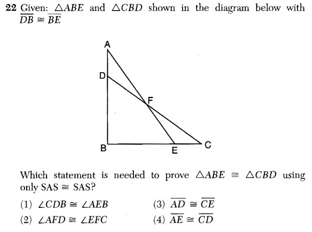 X why august 2016 common core geometry regents part 1 given triangle abe and triangle cbd shown in the diagram below with db be ccuart Images