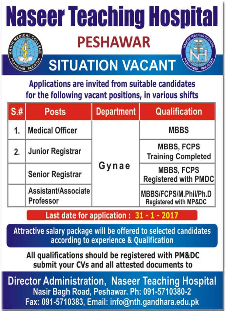 Naseer Teaching Hospital Peshawar Latest jobs