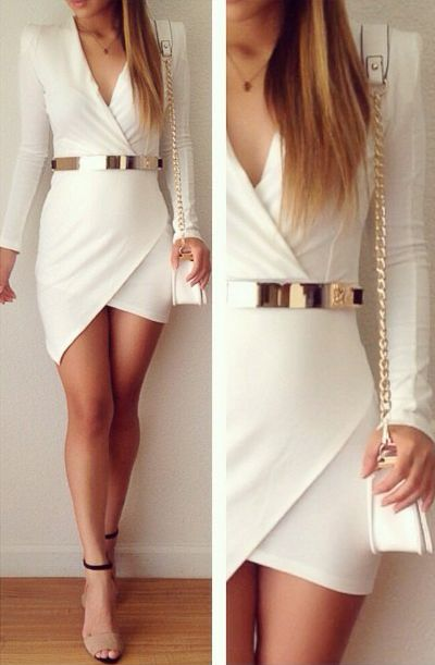 Plain White Homecoming Dress Gold Belt