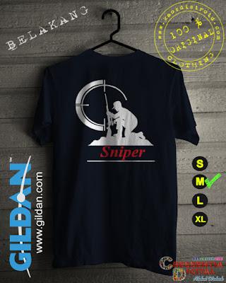 Baju Kaos Distro SNIPER 2 Warna Navy or Biru Dongker
