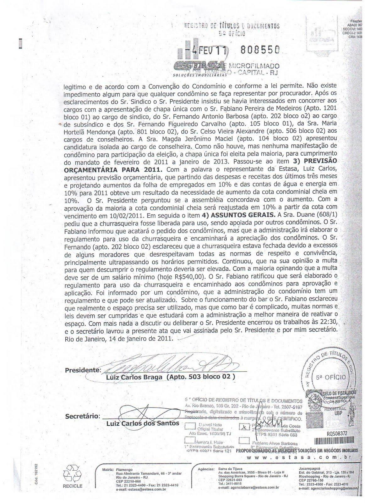 Cond Bosque Do Gabinal Ata De Eleição De Síndico 2011 A 2013