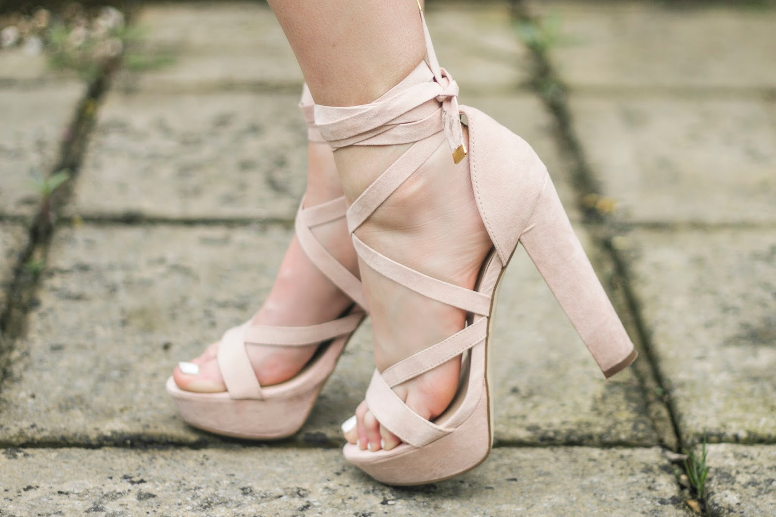 8a37bdd8d20 Pink Tie-Up Platform Heels By River Island