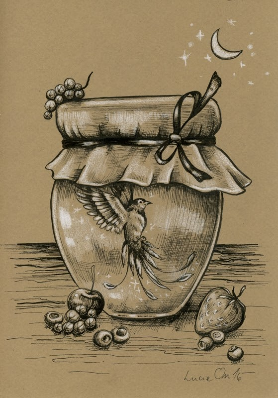 16-Phoenix-Captured-Lucie-Ondruskova-LucieOn-A-Glimpse-of-Fairyland-Animals-in-Drawings-www-designstack-co