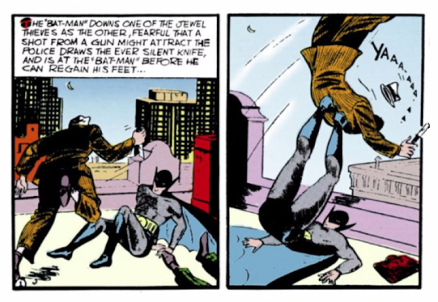 Detective Comics (1937) #28 Page 1 Panels 7 & 8:: Oops! There goes one of the bad guys off the roof.