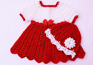 Conjunto Gorro a juego con el vestido de navidad a crochet