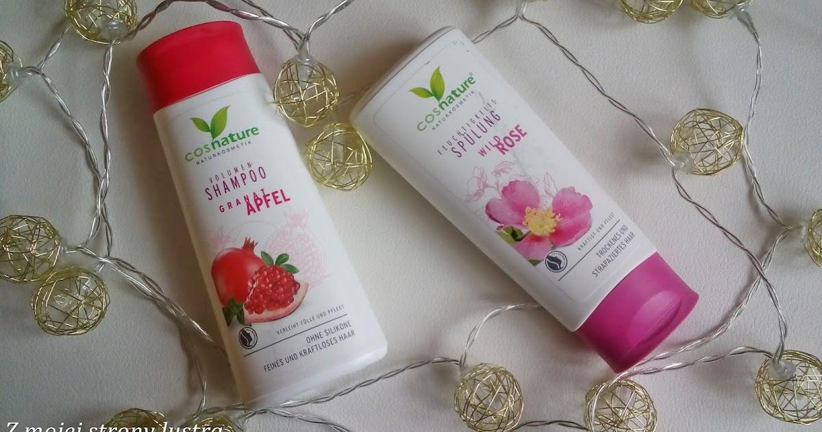Cosnature: naturalny zwiększający objętość włosów szampon z owocem granatu i naturalna odżywka nawilżająca z dziką różą