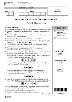 Egzamin Gimnazjalny PRZECIEKI Testy + Odpowiedzi kwiecień 2016