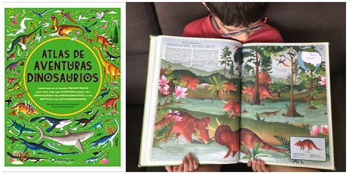 libro informativo conocimientos atlas aventuras dinosaurios flamboyant