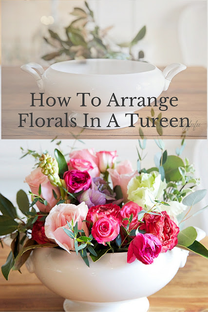 how to arrange flowers in a soup tureen
