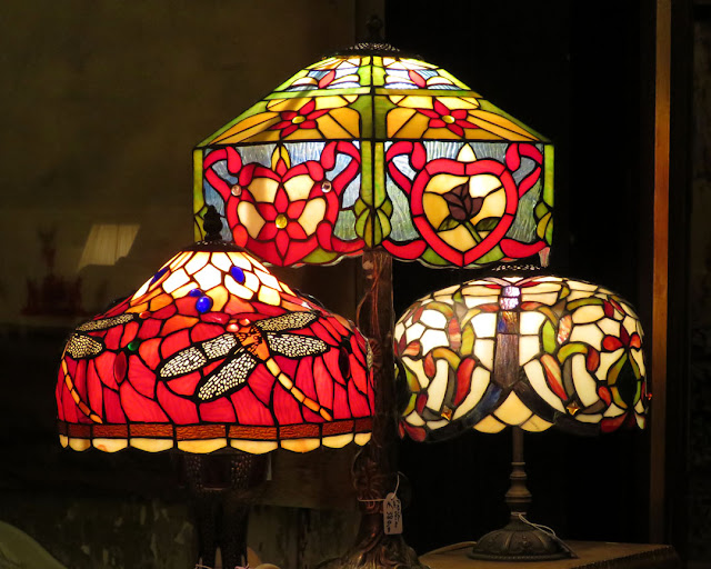 Stained glass lamps, Galleria Imperiale, Piazza Campetto, Genoa