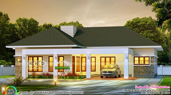 Night view of Sloping roof Bungalow in Kerala