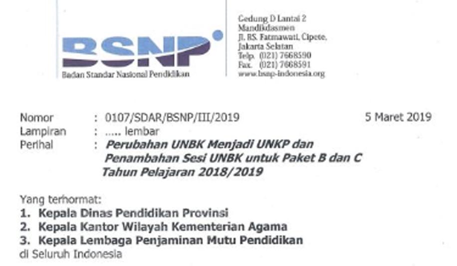 Surat Edaran perihal Perubahan UNBK menjadi UNKP dan Penambahan Sesi UNBK Untuk Paket B da Perubahan UNBK Menjadi UNKP dan Penambahan Sesi UNBK Untuk Paket B dan C 2018/2019