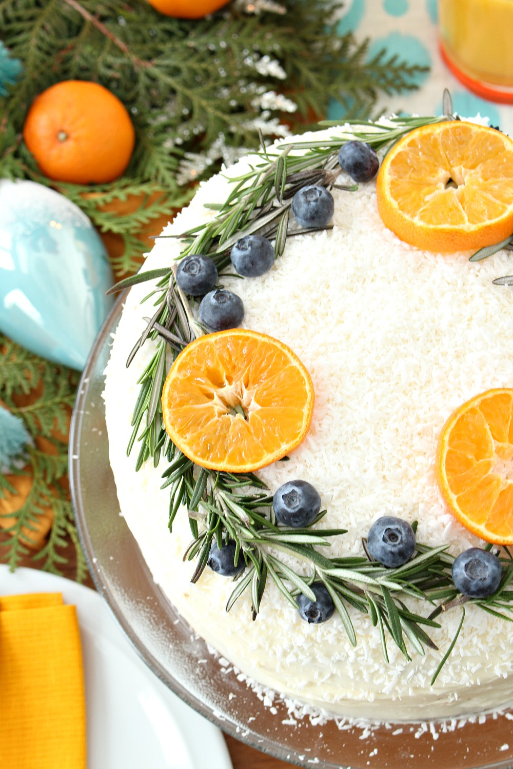 Carrot Cake with Natural Wreath Decoration | Festive Holiday Baking