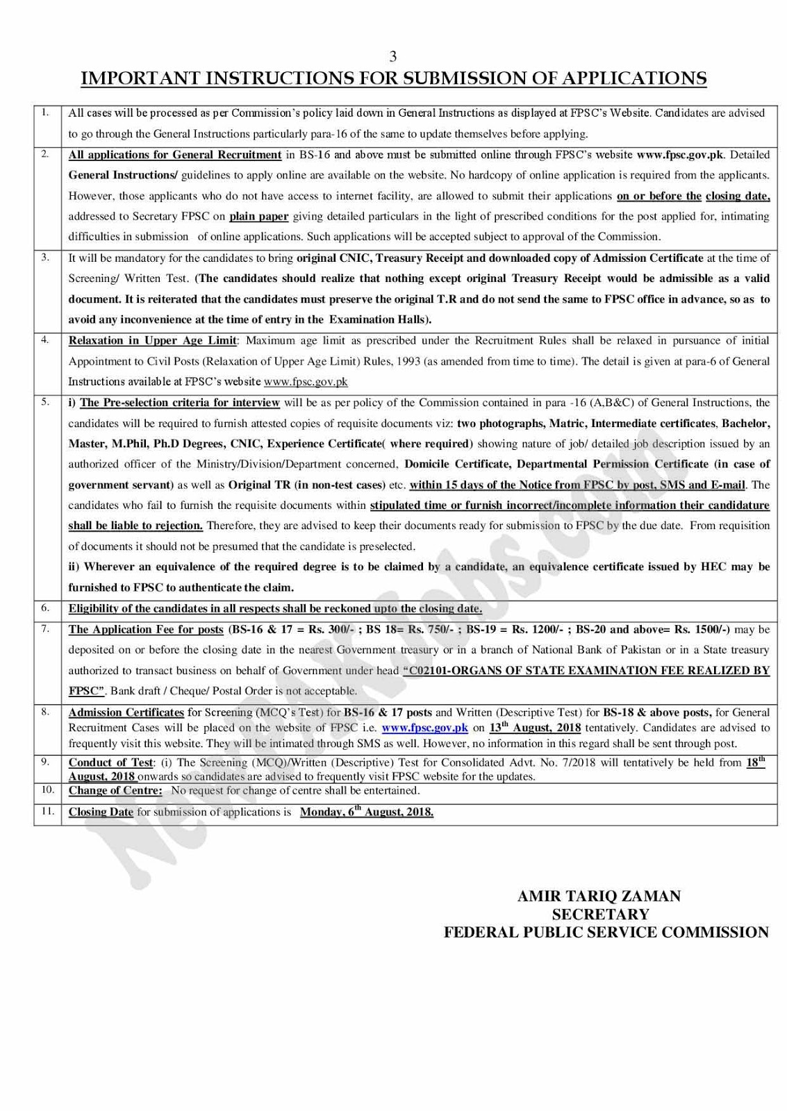 FPSC Latest Jobs Advertisement for August