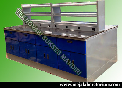Meja Laboratorium island bench steel