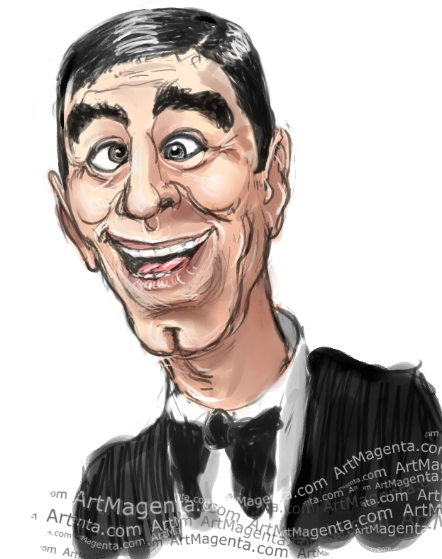 Jerry Lewis caricature cartoon. Portrait drawing by caricaturist Artmagenta