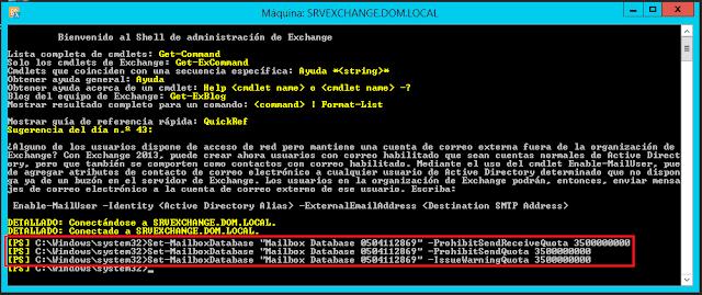 "Set-MailboxDatabase ""NOMBRE_BD"" -IssueWarningQuota TAMAÑO"