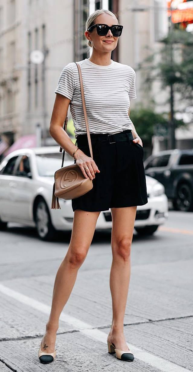 summer look_striped top + black high waist shorts + bag + heels