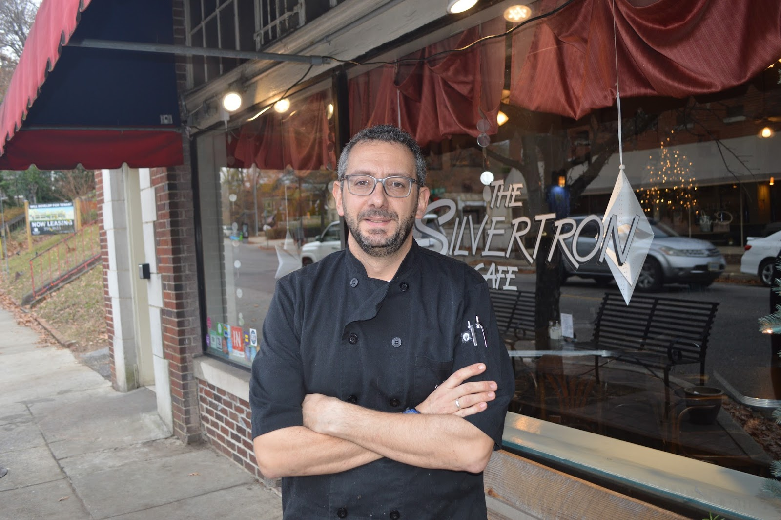 Marco Morosini in front of Silvertron Cafe