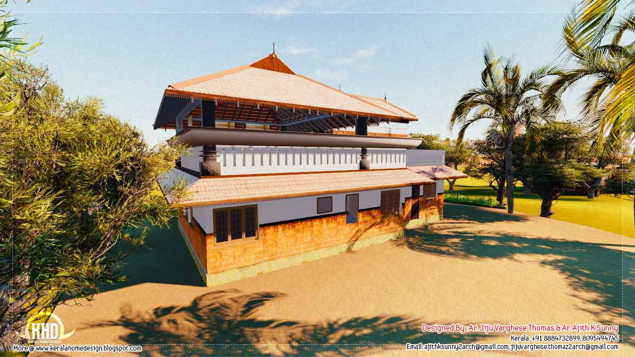 1500 traditional kerala home design kerala home for Conventional house style