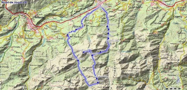Mapa de la Senda del Chorrón y Foz del Río Valle