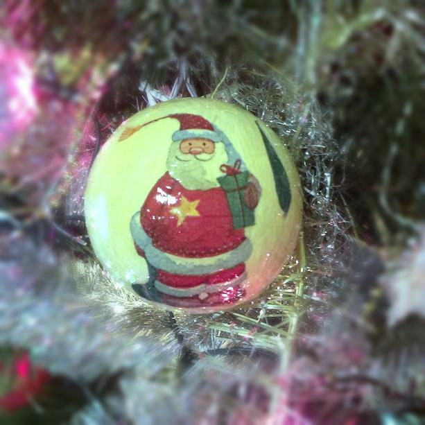 mikołaj, bombka z mikołąjem, mikołąj diy, zrób to sam bombka, ozdoby świąteczne, ozdoby na choinkę