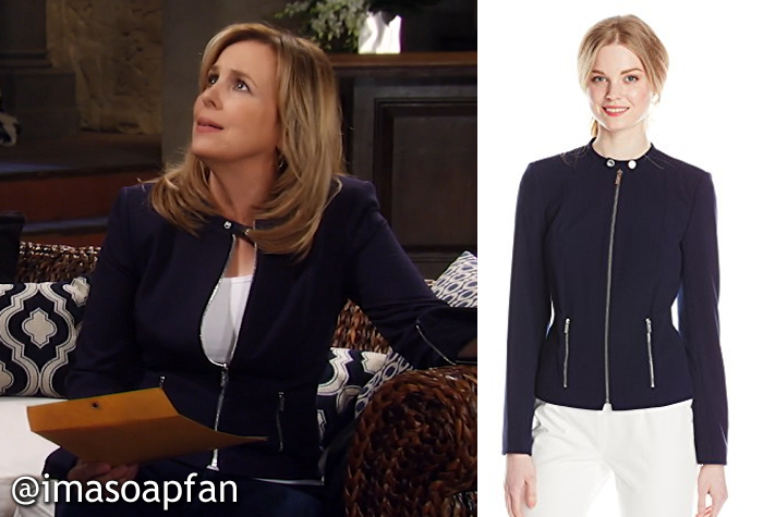 Laura Spencer, Genie Francis, Navy Blue Jacket, Calvin Klein, GH, General Hospital