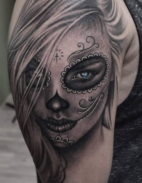 50 beautiful day of the dead tattoos ideas and designs 2018 tattoosboygirl. Black Bedroom Furniture Sets. Home Design Ideas