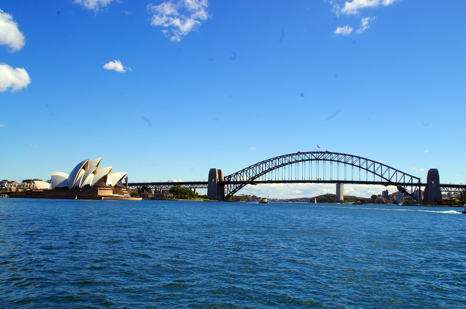 The opera house and harbour bridge