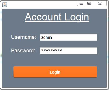 java inventory system - login form