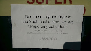 Sign: due to supply shortage in the southeast region we are temporarily out of fuel.