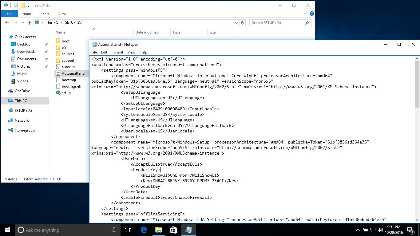 Cách tạo một tập tin trả lời Autounattend.xml để triển khai cài đặt Windows 10 tự động