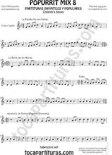 Mix 8 Partitura de Tuba Elicón (o Bajo Metal) La Escaleritas con Notas, La Reina de los Mares, Polka Popurrí 8 Sheet Music for Tuba Music Scores   Mix 8 Partitura de Corno Inglés La Escaleritas con Notas, La Reina de los Mares, Polka Popurrí 8 Sheet Music for English Horn Music Scores