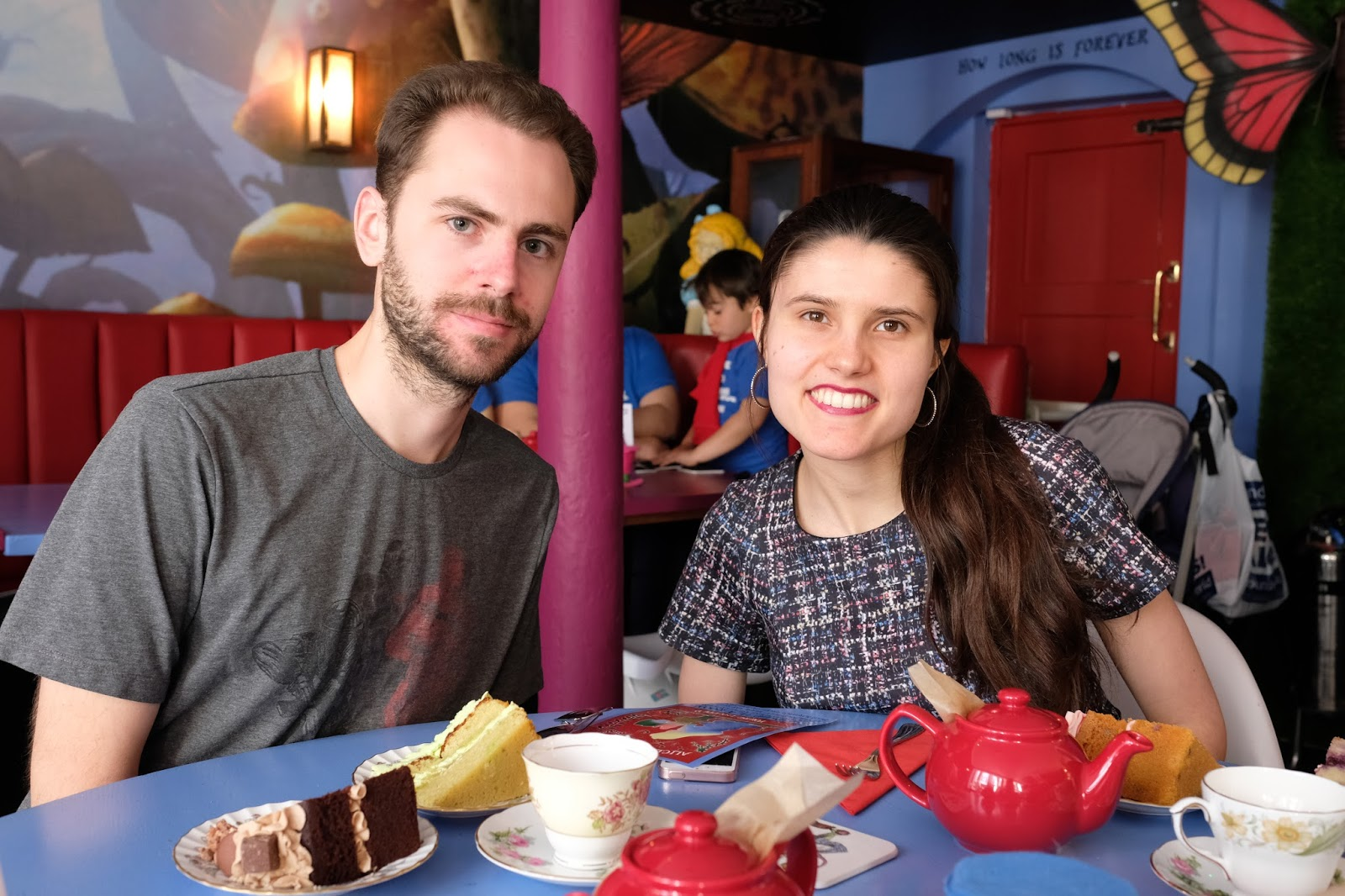Stuart and Kat enjoying afternoon tea at Alice and the Hatter, Canterbury