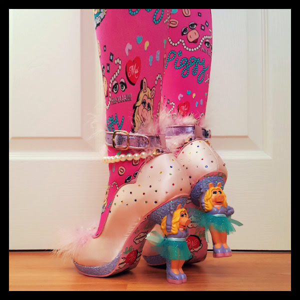 back view wearing Miss Piggy character heel shoes with Muppets tights