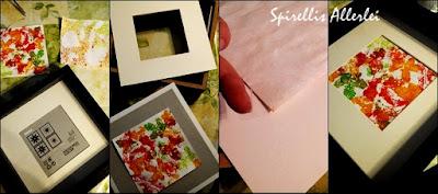 Da ich noch Bilderrahmen von Ikea zu Hause hatte, war der Plan dann soweit fertig. Es wird bunt! So wie der Herbst eben sein sollte! Was ihr dazu also braucht: - ein paar Blätter eurer Wahl - Farben (ich habe Acrylfarben genommen) - Wasser - ein großer Borstenpinsel - weißes Papier Das erste Bild habe ich gesprenkelt: Also die Blätter auf weißes Papier legen, ich habe mir vorher noch mit je einem Zentimeter mehr Rand die grobe Form des Rahmens vorgezeichnet. Dann die Farben mit Wasser verrühren und los gehts!