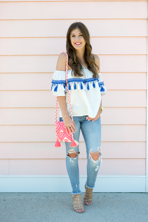 Tops With Tassels: Everyday I'm Tasselin' by Charleston fashion blogger Kelsey of Chasing Cinderella