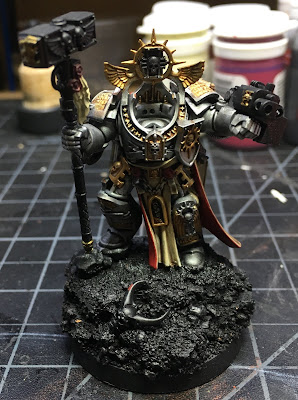 Grand Master Voldus WIP front, gold details painted in