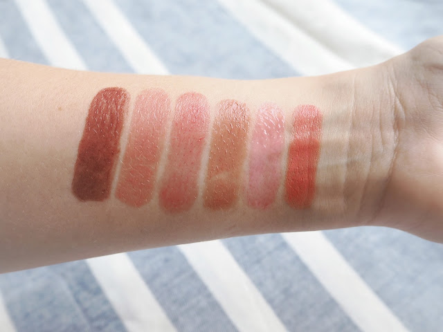 The Sheer Lip Edit, sheer lipsticks, summer lip shades, benebalm, mac, coral bliss, peach blossom, ysl tint in oil cherry my cherie, chanel rouge coco shine scénario, catrice coffee and cream, review, swatches