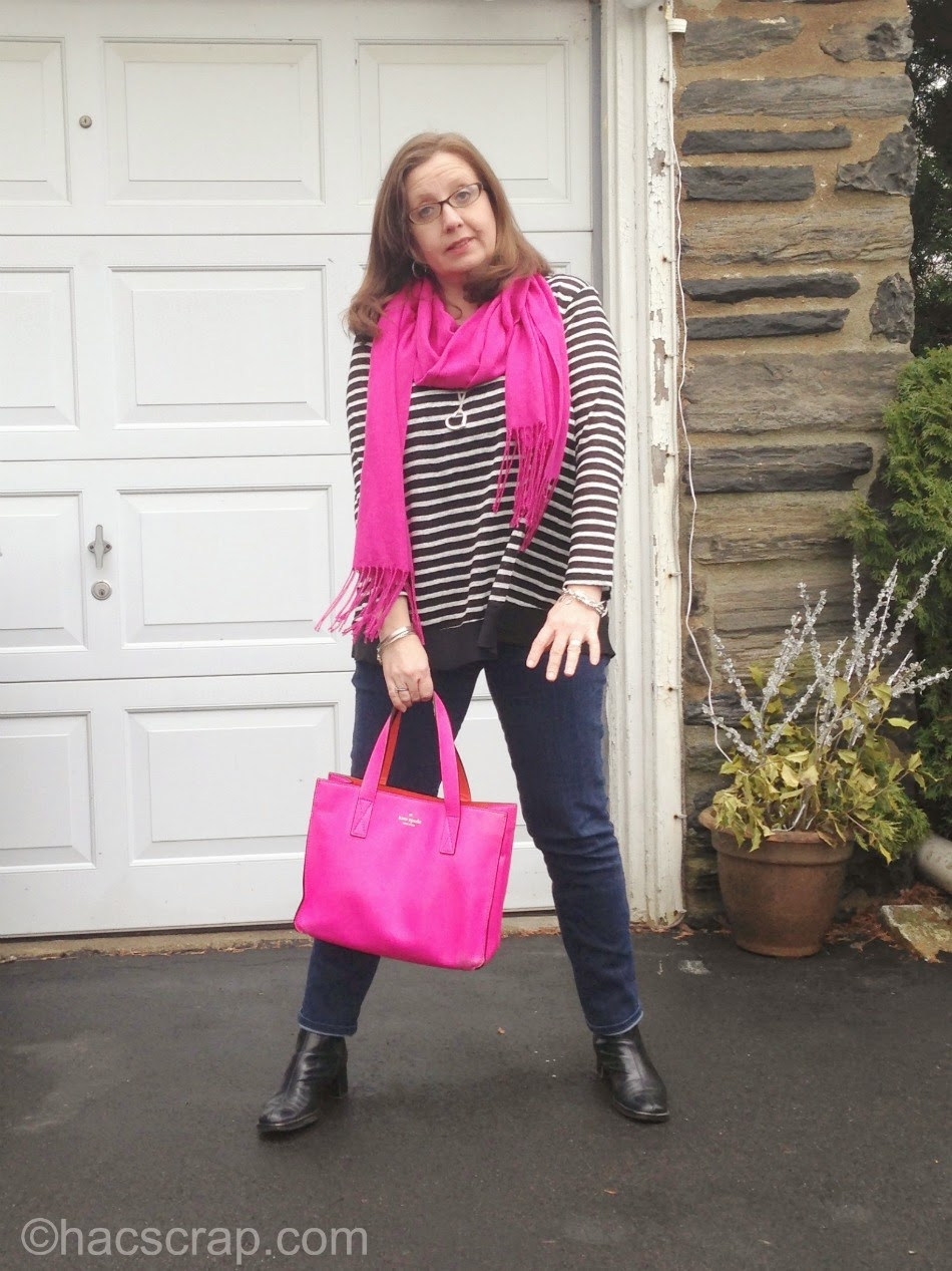 Adding a Hot Pink Scarf and Bag can brighten up an outfit for spring.