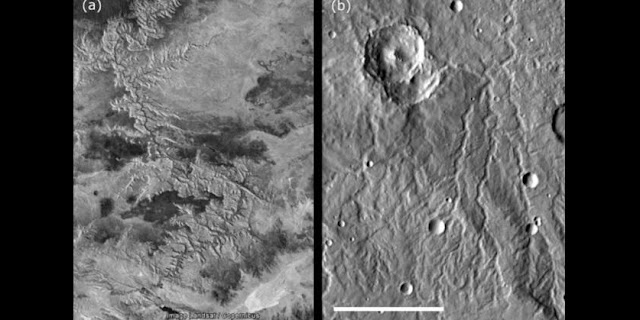 The Grand Canyon (a) versus a Martian dendritic river system (b) (Arabia quadrangle; 12 degrees N, 43 degrees E). Slight morphologic differences between terrestrial and Martian comparisons may be attributed to the great differences in age. Scale bar is 60 km long. Credit: Google/Landsat/Copernicus (a) and Google/NASA/JPL/University of Arizona (b). Images adapted from Ramirez and Craddock (2018), Nature Geoscience