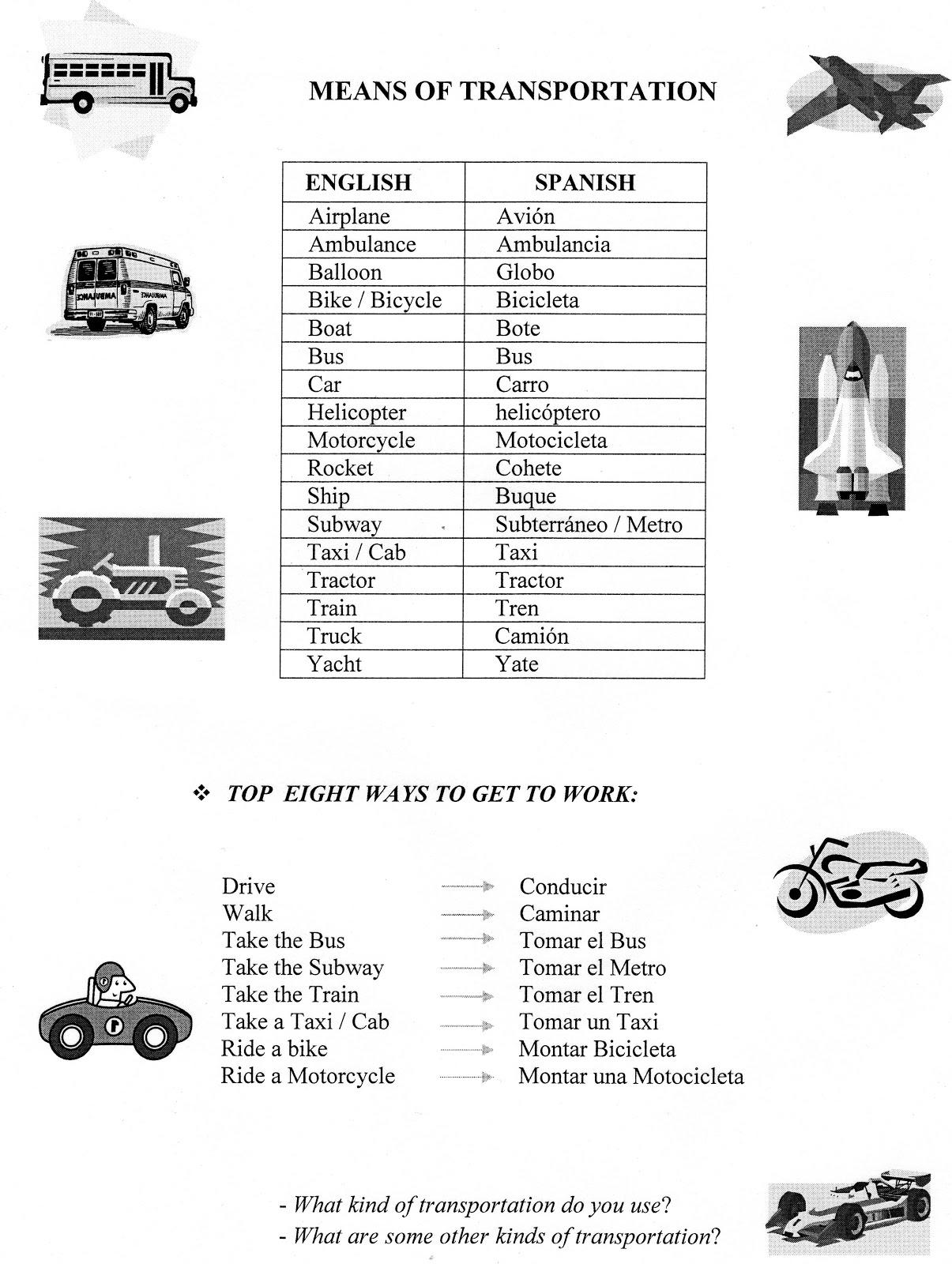 English Teacher O Prof De Francais Means Of Transportation