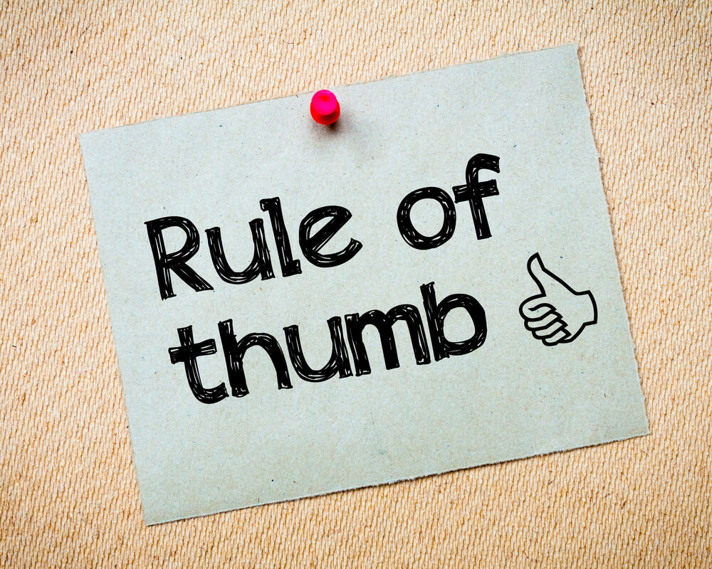 rules of thumb written on a piece of paper