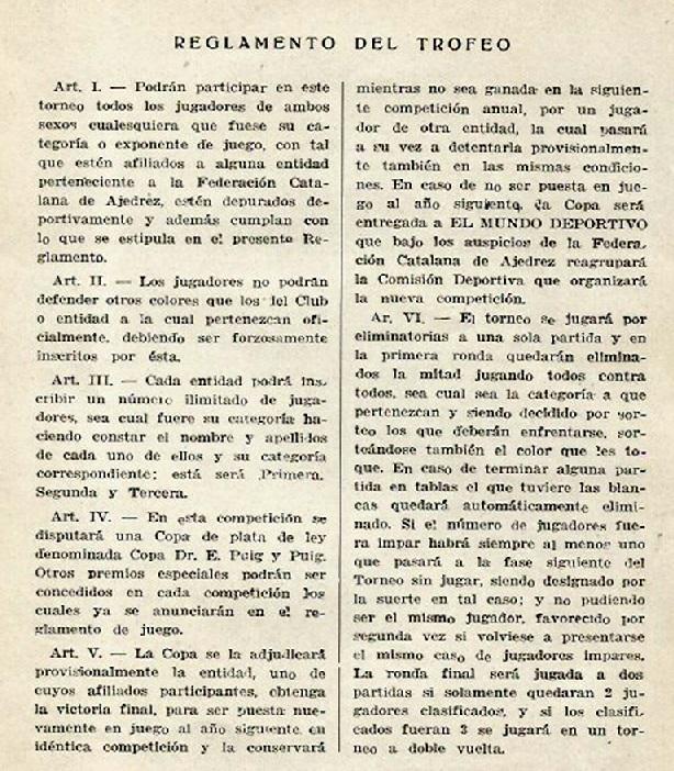 Reglamento del I Trofeo Dr. Puig i Puig