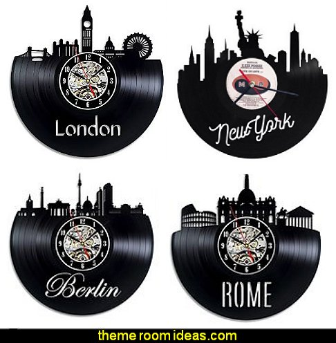 CITY THEMED vinyl record wall clocks