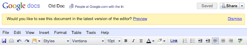 Google Docs Hinweis